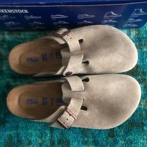 Birkenstock Taupe Suede Boston Soft Footbed Mules